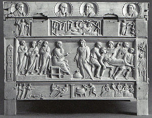 Ananias and Sapphira - Ananias and Sapphira on the Brescia Casket, late 4th century (middle register, centre and right)