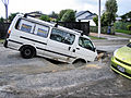 Liquefaction on roads - North New Brighton centre in Christchurch Feb 2011 quake.jpg