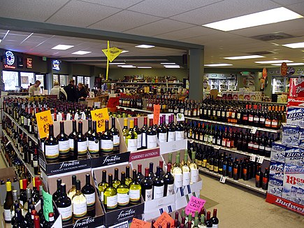 A liquor store in the United States. Global sales of alcoholic drinks exceeded $1 trillion in 2018. Liquor store in Breckenridge Colorado.jpg