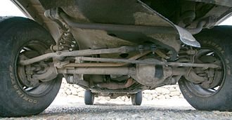 Beam axle - A live axle in a Jeep. This is the front suspension, using coil springs.