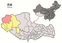 Location of Rutog County within Tibet
