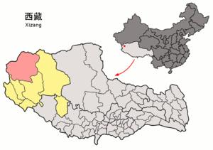 Rutog County - Image: Location of Rutog within Xizang (China)