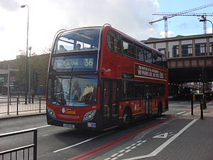 London Buses route 36 - London Central Alexander Dennis Enviro400 at Vauxhall station in October 2008
