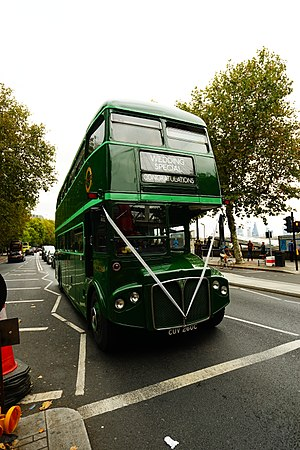 Double-decker bus - London heritage double-decker wedding special bus on the Victoria Embankment