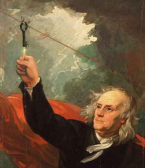Benjamin Loxley - Loxley's house key is depicted in this painting of Franklin's kite experiment