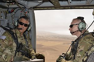 Stephen J. Townsend - Townsend and Colonel Brett G. Sylvia, the commander of 2nd Brigade Combat Team, 101st Airborne Division, travel to visit troops with Task Force Strike, 101st Airborne Division, Qayyarah West Airfield, Iraq, September 2016.