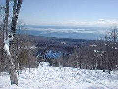 Upper Grizzly run on Moose Mountain, overlooking Lake Superior.