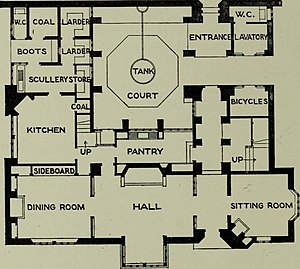 Deanery Garden - House ground floor plan, 1921