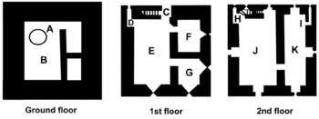 Lydford Castle, modern plan