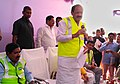 M. Venkaiah Naidu addressing at the project site of Obullavari village after inspecting tunnel works for laying of new BG railway line near Chitvel, in Kadapa District of Andhra Pradesh.jpg