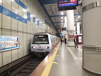 Istanbul Metro - A train entering Levent on the M2 line