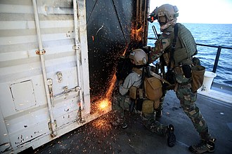 United States special operations forces - Marine Raiders fine-tune Visit, Board, Search and Seizure skills.