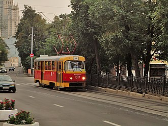 Tatra T3 - Tram modernized from T3SU to MTTD on the historic Boulevard Ring tram line in Moscow