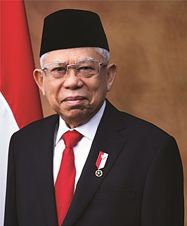 Maruf Amin 13th and current Vice President of Indonesia, Islamic cleric