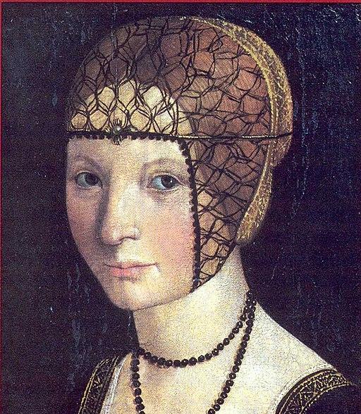 Macrino d'Alba, Ritratto di Anna d'Alençon. Tempera su tavola. Crea, Santuario dell'Assunta