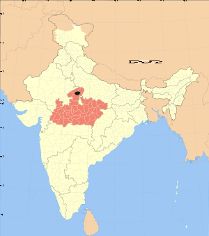 Map showing location of district in Madhya Pra...