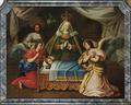 Madre de Deus (Escola Portuguesa do séc. XVIII) - Madre Paula, D. João V e o infante D. José representados como Nossa Senhora, S. José e o Menino Jesus.png