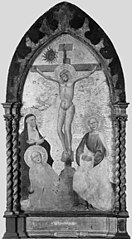 Christ on the Cross mourned by the Virgin Mary and Saints Mary Magdalene and John