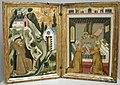 Maestro italiano attivo a napoli o avignone, stimmate di san francesco e angelo che incorona i santi ceccilia e valeriano, 1330 ca..JPG
