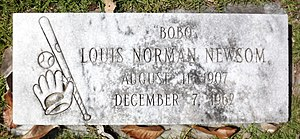 Bobo Newsom - Bobo Newsom's headstone at Magnolia Cemetery in Hartsville, South Carolina
