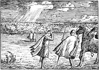 Halfdan Egedius - Image: Magnus den godes saga Magnus og Kalv Arnesson Stiklestad H. Egedius