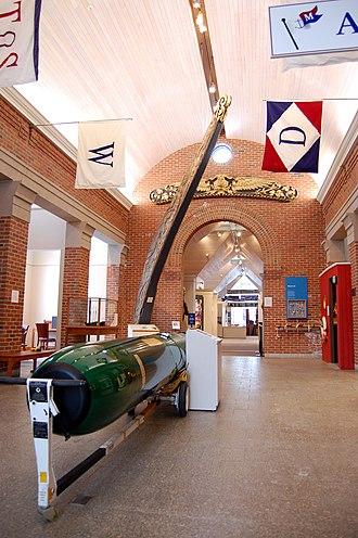 Maine Maritime Museum - Maine Maritime Museum galleries, with Mark 48 torpedo hull