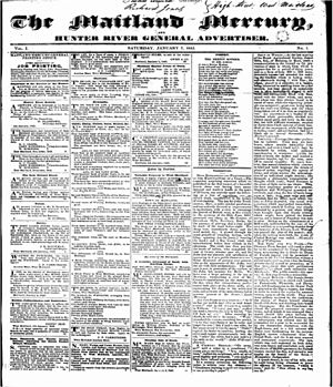 Maitland Mercury - The front page of The Maitland Mercury, 7 January 1843