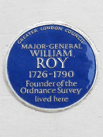 William Roy - Blue plaque at Roy's London home, 10 Argyll Street.