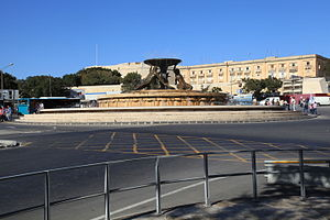 City Gate (Valletta) -  Triton Fountain, located just outside City Gate