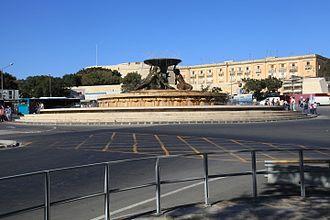 City Gate (Valletta) -  Triton Fountain, located just outside City Gate