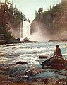 Man sketching scenery at the base of Snoqualmie Falls, Washington, ca 1891 (BOYD+BRAAS 26).jpg