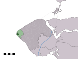 The village centre (dark green) and the statistical district (light green) of Westkapelle in the municipality of Veere.