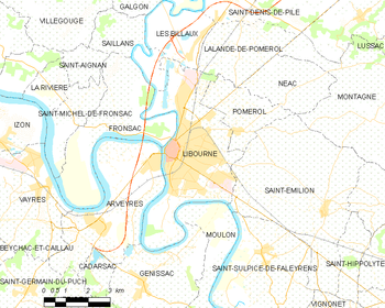 Map of the commune of Libourne