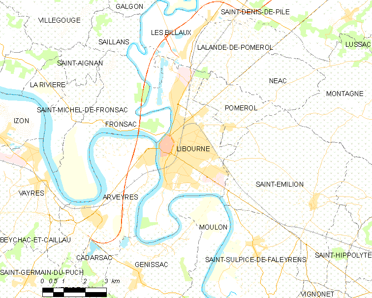 Map commune FR insee code 33243