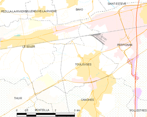 Toulouges - Map of Toulouges and its surrounding communes