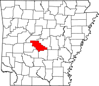 Map of Arkansas highlighting Saline County