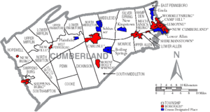 Map of Cumberland County Pennsylvania With Municipal and Township Labels.png