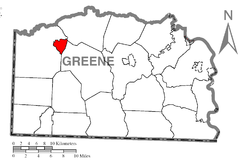 Location of Gray Township in Greene County