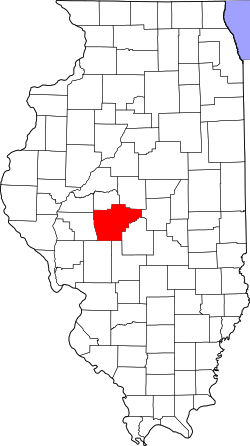 map of Illinois highlighting Sangamon County