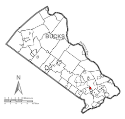 Location of Langhorne in Bucks County