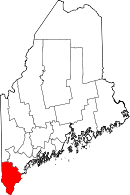 Map of Maine highlighting York County.svg