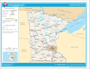 Outline of Minnesota - An enlargeable map of the State of Minnesota