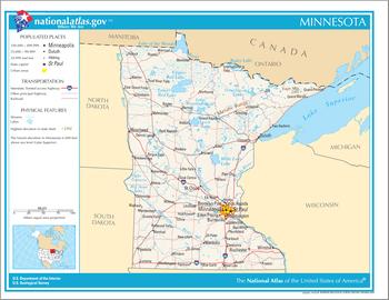 Mapa de Minnesota, que muestra las carreteras y los cuerpos de agua más importantes.