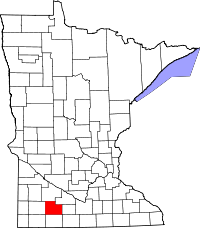 Map of Minnesota highlighting Cottonwood County