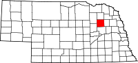 Map of Nebraska highlighting Madison County