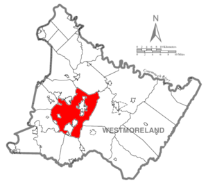 Hempfield Township, Westmoreland County, Pennsylvania - Image: Map of Westmoreland County, Pennsylvania Highlighting Hempfield Township
