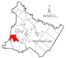 Map of Westmoreland County, Pennsylvania Highlighting Sewickley Township