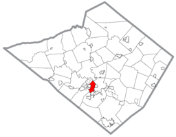 Location of Wyomissing in Berks County