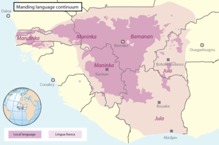 Manding languages mutually intelligible group of dialects or languages in West Africa