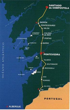 mapa do caminho portugues de santiago Caminho Português de Santiago – Wikipédia, a enciclopédia livre mapa do caminho portugues de santiago